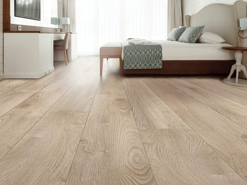Hardwood floor in a bedroom